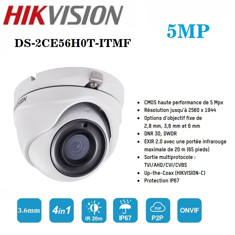 Hikvision 5MP Camera DS-2CE56H0T-ITMF Indoor / Outdoor 4 in 1 CVI / TVI / AHD / CVBS Infrared 20m night vision camera image