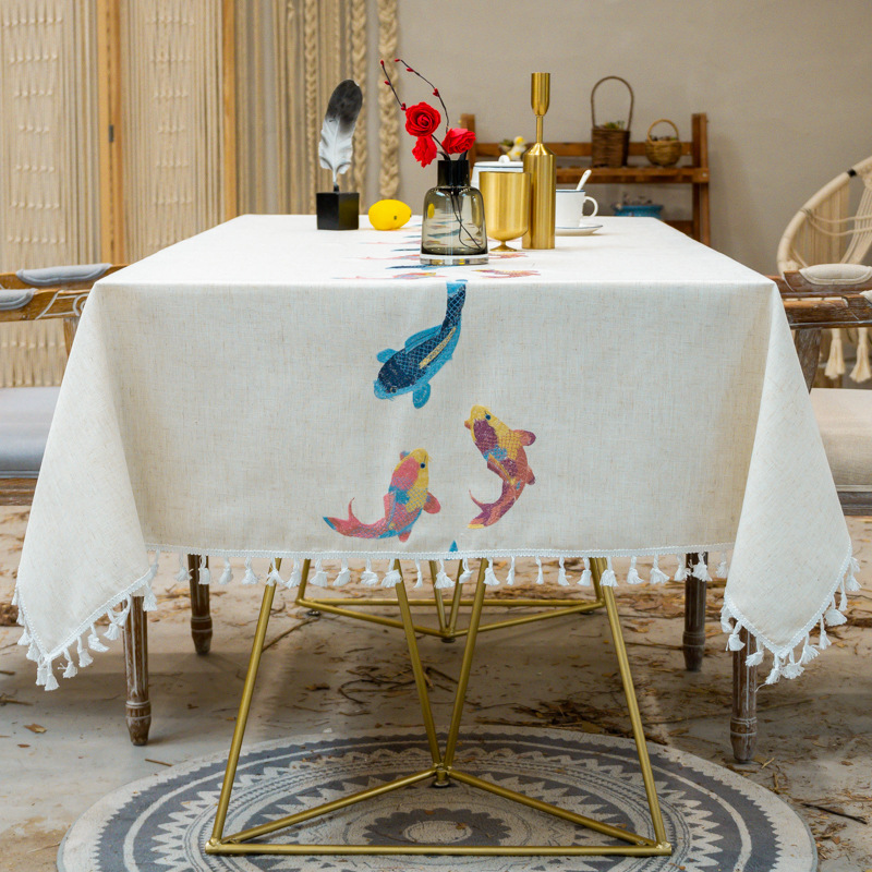 New Embroidery Decorative Linen Tablecloth With Tassel Waterproof Oilproof Rectangular Wedding Dining Table Cover Table Cloth
