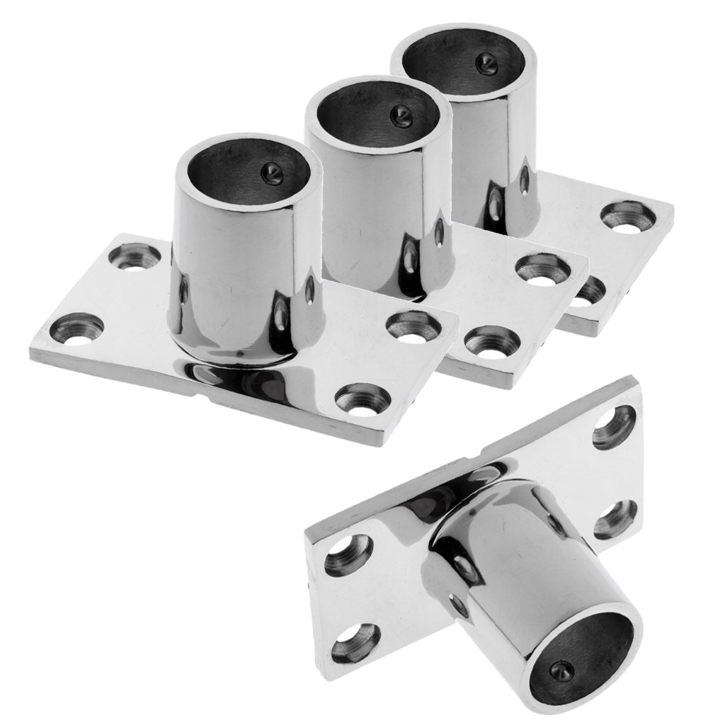 4 Pieces Stainless Steel Boat Deck Hand Rail Fitting Rectangular Base 90 Degree For 22mm Tube Boat Deck Handrail Fitting
