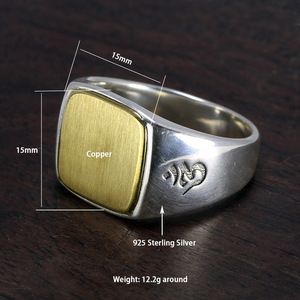 Image 4 - Genuine Solid 925 Sterling Silver Mens Signet OM Rings Simple Smooth Design Mantra Buddhist Jewelry