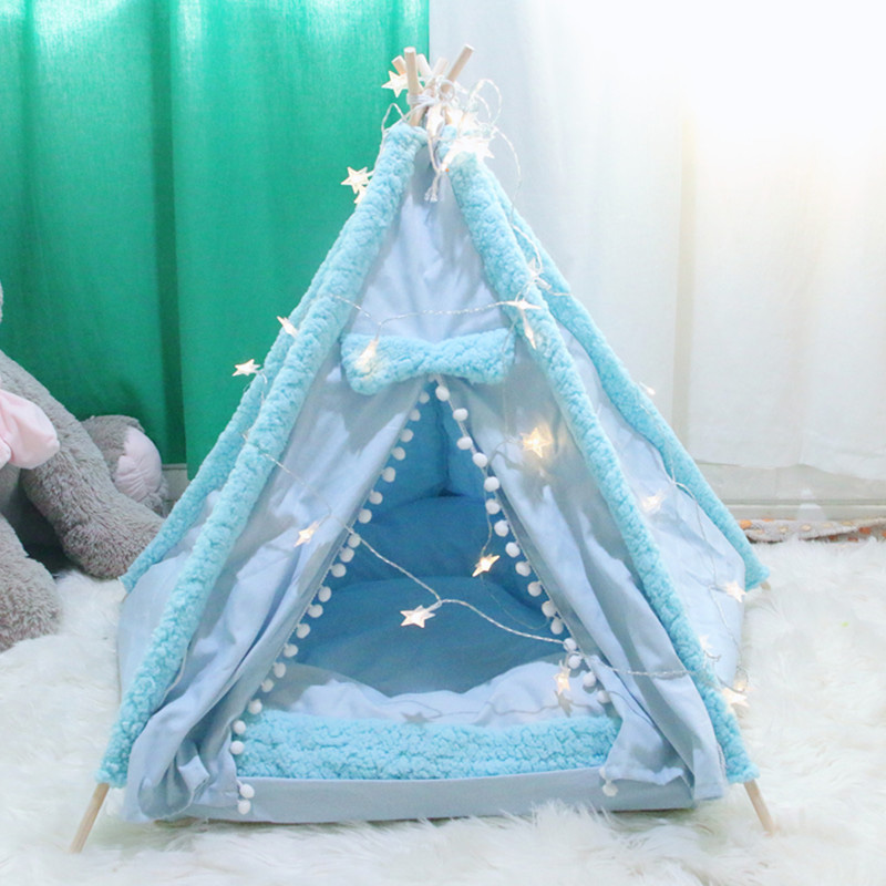 dog teepee bed blue