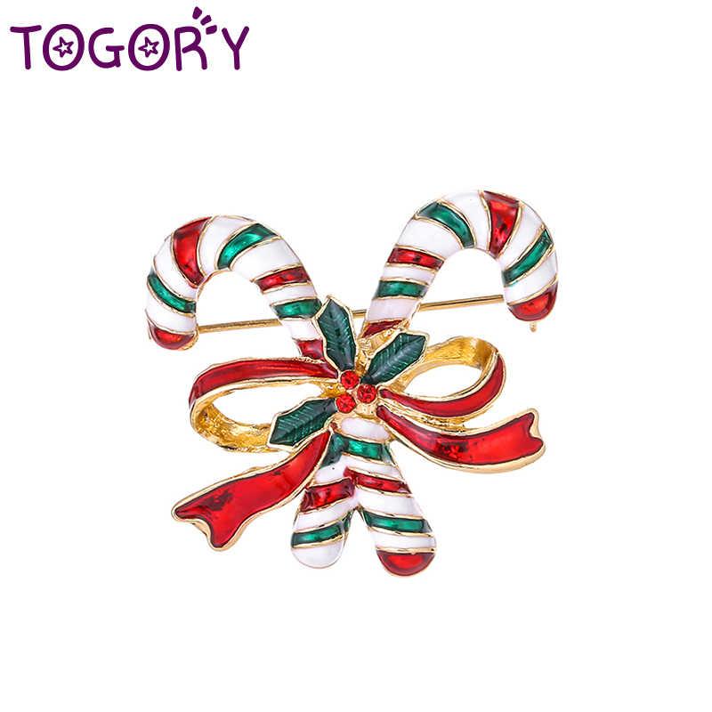 Togory Hadiah Tahun Baru Natal Enamel Merah & Hijau Tongkat Bros Wanita Pria Anak Tas Topi Syal Perhiasan Aksesoris