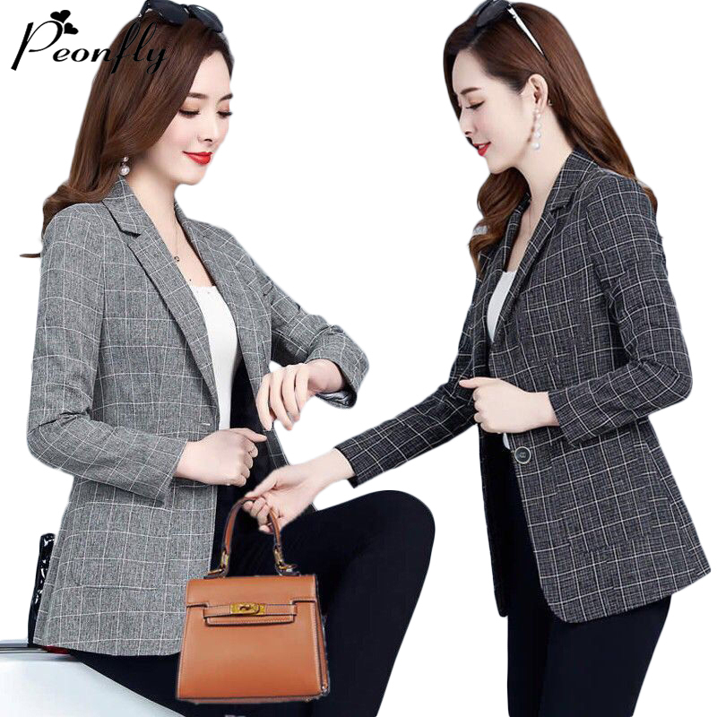 PEONFLY Spring Jacket Women Coats Retro Plaid Outwear Casual Turn Down Collar Office Wear Work Single Breasted Jackets Blazer