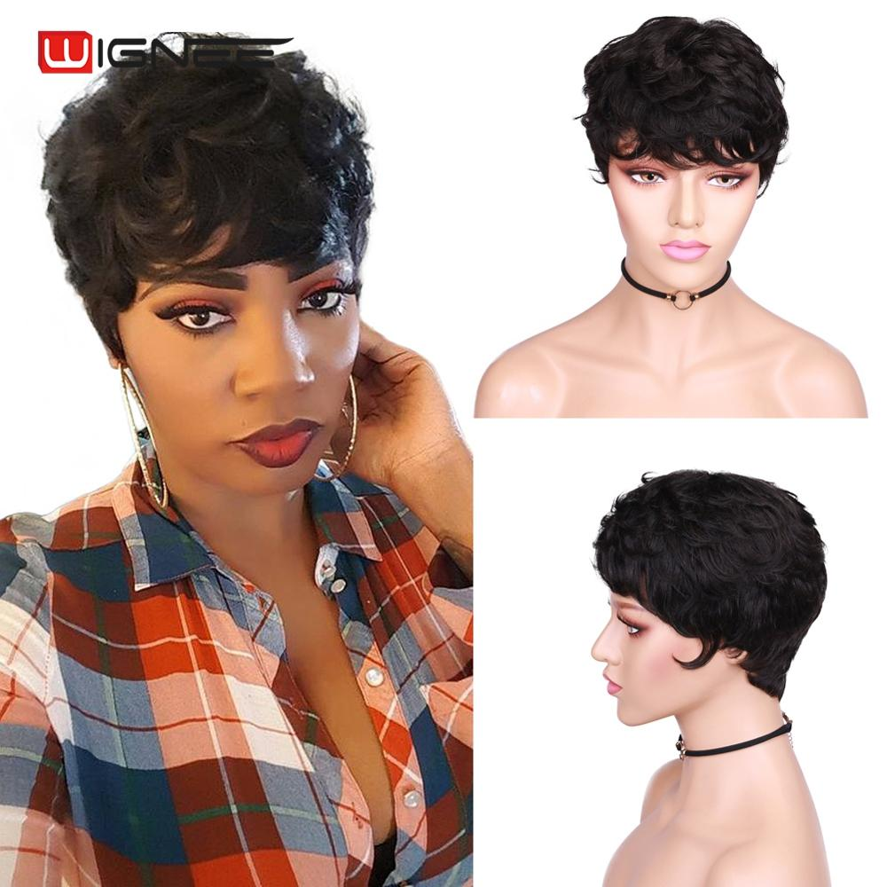 Wignee Short Pixie Cut Curly Human Hair Wigs For Women Natural Black Remy Hair Jerry Curl High Density Glueless Cheap Human Wigs