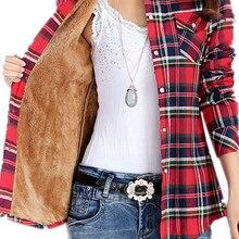 Plaid Shirt Tops Check Blouse Velvet Long-Sleeve Warm Fleece Female Autumn Winter Women's
