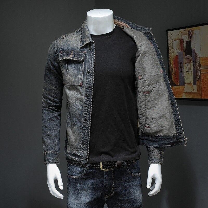 Новинка 2020, мужское джинсовое пальто, Ретро стиль, ковбойские облегающие Топы с длинным рукавом, повседневная куртка на молнии размера плюс ...