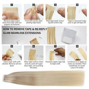 Image 5 - Full Shine Tape in Hair Extensions Balayage Color 100% Human Tape On Hair Extensions 50g 20 Pcs machine made remy