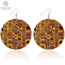 Drop-Earrings Ethnic African-Fabric SOMESOOR Bohemian Women Wood for Headwrap Printed