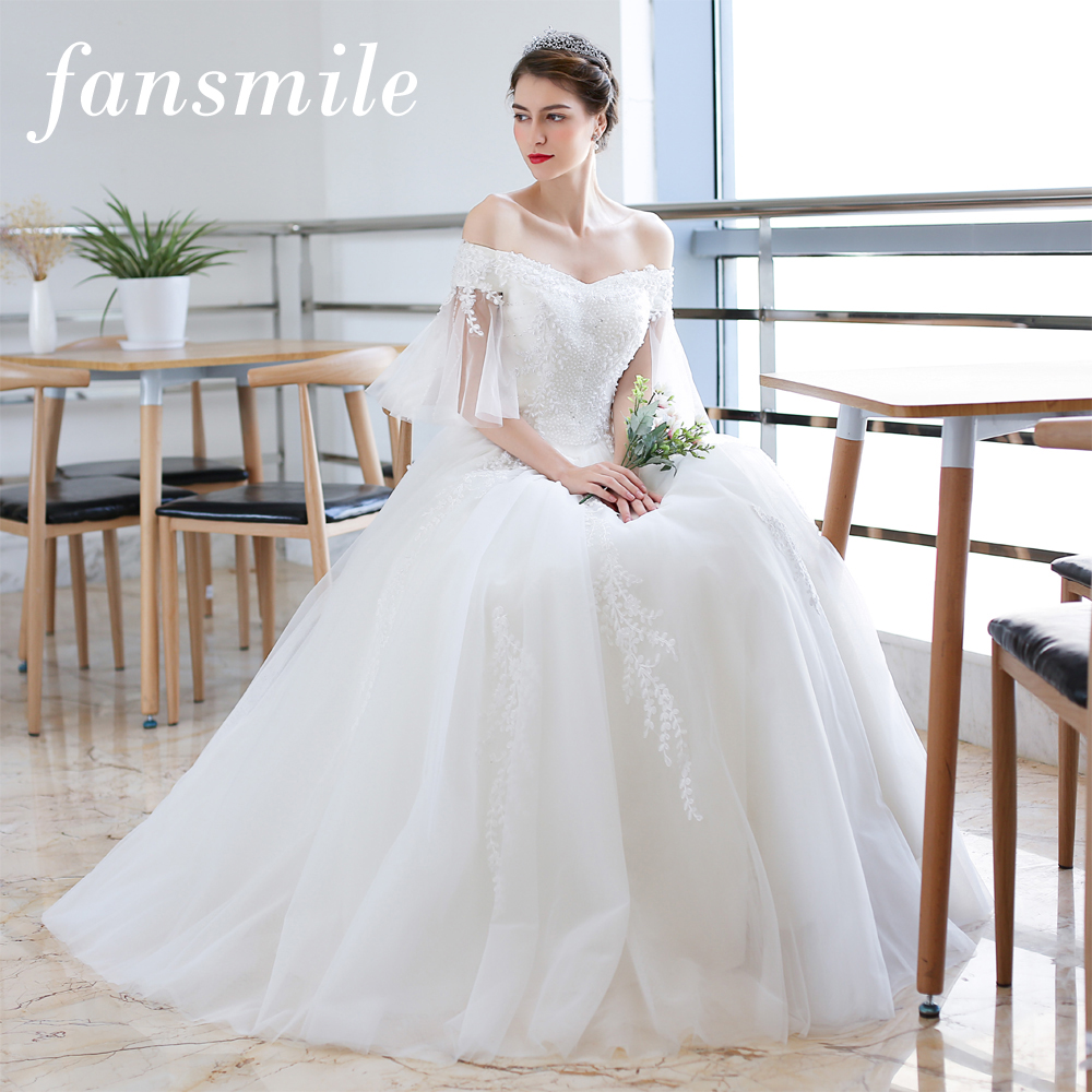 Fansmile Vintage Lace Vestido De Noiva Ball Gown Wedding Dress 2020 Custom-made Plus Size Wedding Gowns FSM-126F