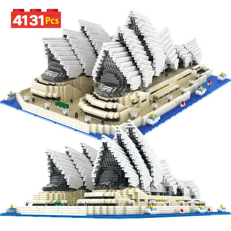 4131 pièces jouet pour enfants Mini briques de diamant célèbre ville Architecture Sydney opéra modèle blocs de construction cadeau éducatif