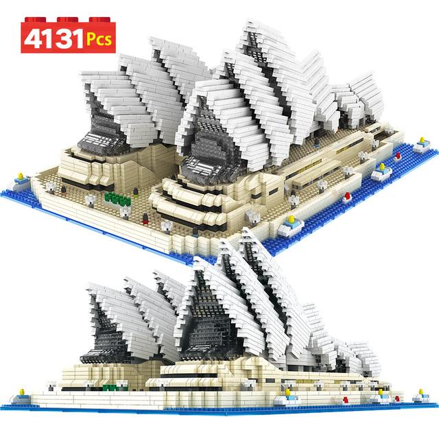 4131PCS Toy For Children Mini Diamond Bricks Famous City Architecture Sydney Opera House Model Building Blocks Educational Gift