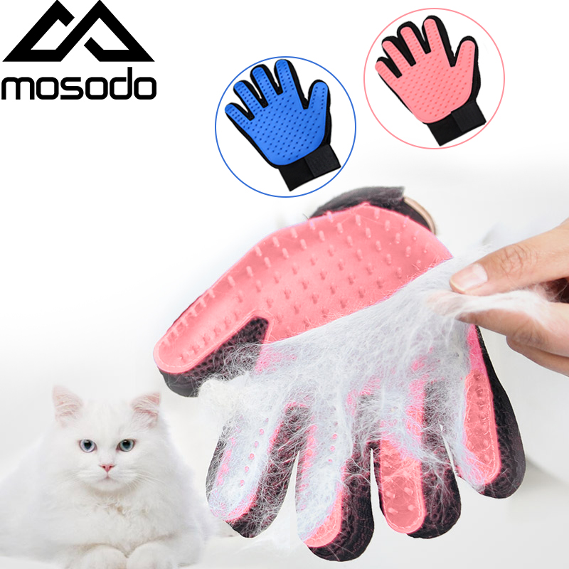 Mosodo Pet Grooming Glove For Cats Wool Glove Pet Hair Brush Gloves For Pet Dog Cleaning Massage Gloves For Pets Bath Clean