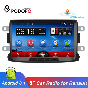 Podofo 2 Din Android Car Radio 8'' Autoradio Multimedia Player GPS Mirrorlink Stereo Receiver For Renault Duster/Logan/Dokker image
