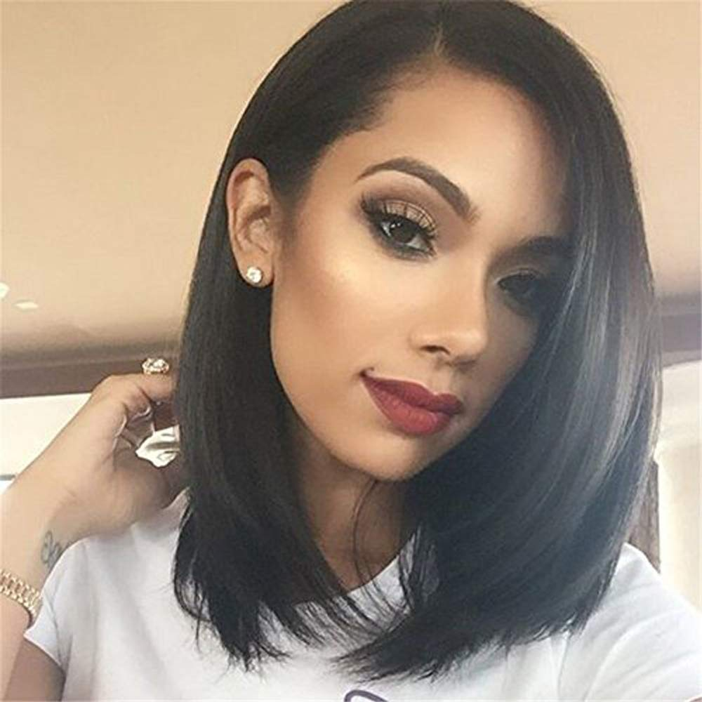 Lace Front Human Hair Wigs 13x6 Short Straight Wigs 180 Density Middle Part Pre Plucked Hairline With Baby Hair With Baby Hair