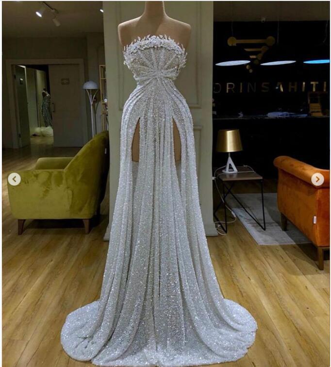 estilos cristal alto lado dividir longo vestidos de baile
