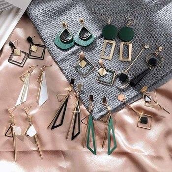 Korean Women's Earrings Metal Wood Geometric Fashion Cute Bohemian Drop Earrings Suitable For Winter Gift Jewelry 2019 New