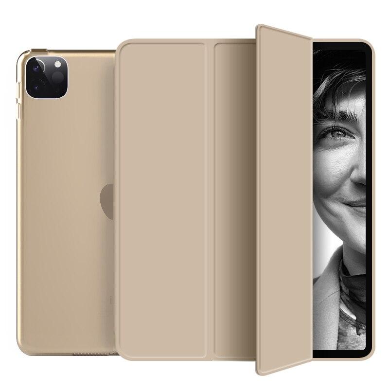 Gold White For New iPad pro 11 inch 2020 case Smart Auto wake up Tri fold hard bracket