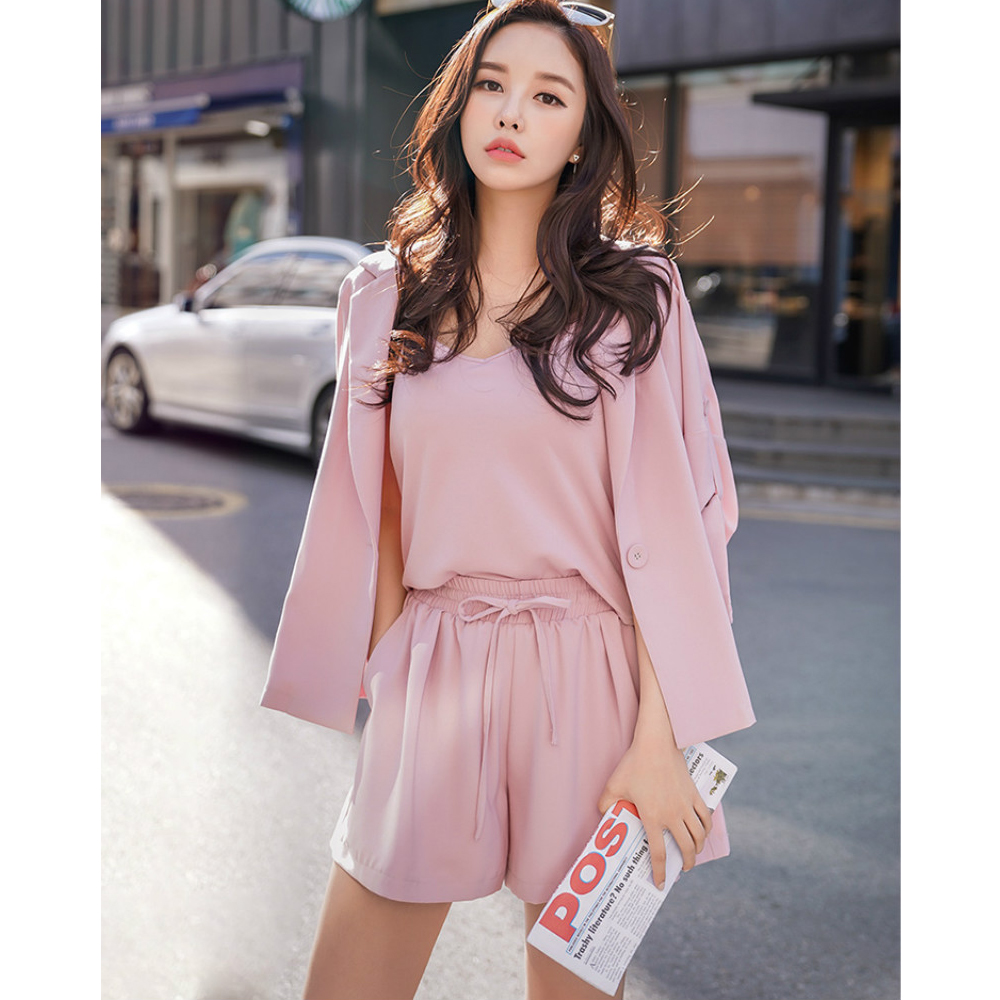 Dabuwawa Women s Suits Sets New Pink Suit Shirt Shorts 3 pieces Sets Spring Office lady