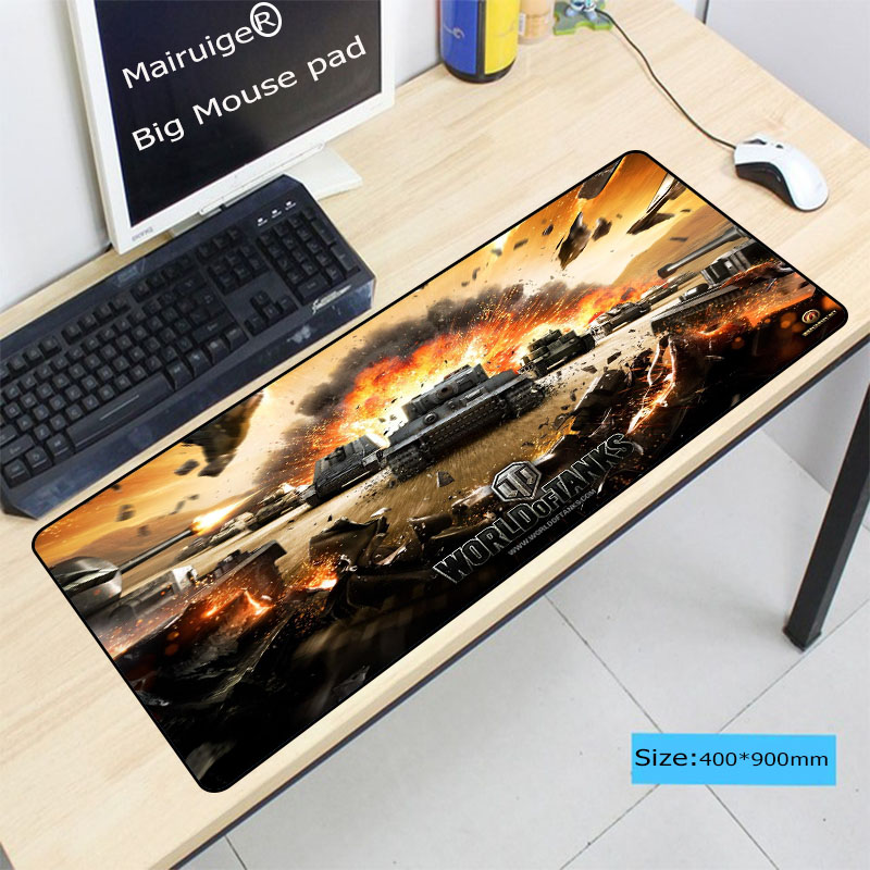 Laumans900*400*3mm World Of Tanks Gaming Large Mouse Pad Computer Notebook Rubber Mice Mat Stitched Edge Speed Up Mousepad