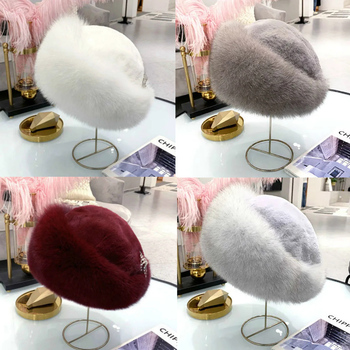Hat Female Winter Lei Feng Faux Fur Fox Fur Hat Dome Mongolia Hat Russian Snow Cap Thickened Warmth image
