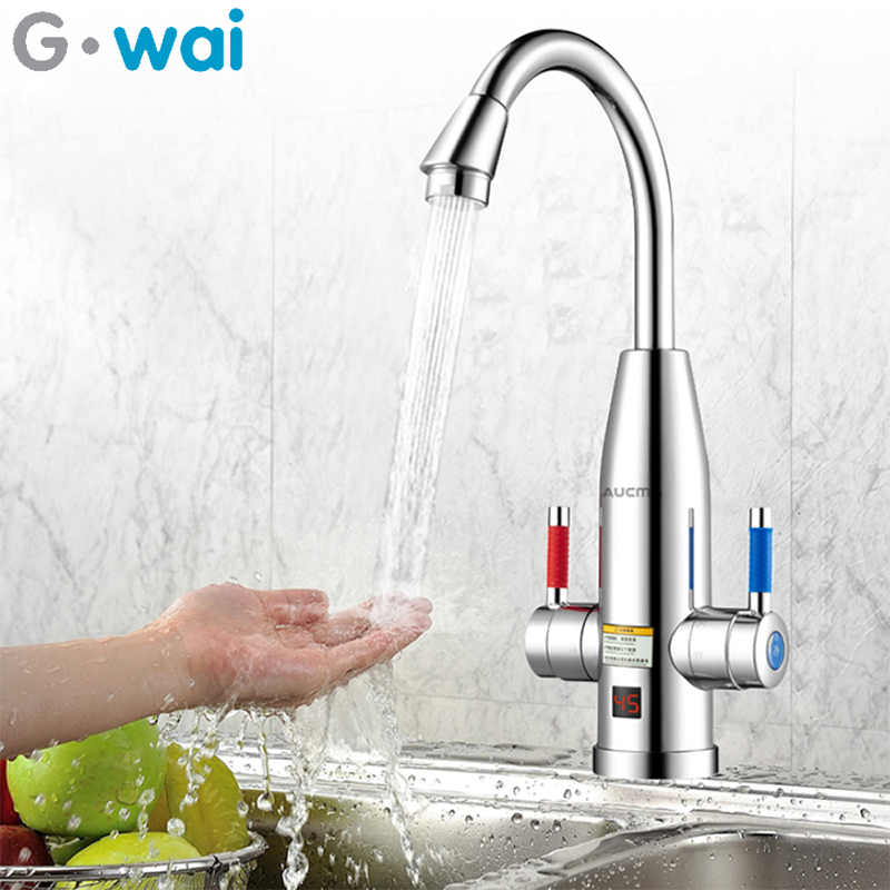 3400W robinet électrique instantané en acier inoxydable chauffe-eau sans réservoir avec affichage de la température chaud et froid double usage pour la cuisine