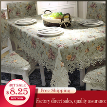 Designer Embroidered Lace Crochet Tablecloth Elegant European Rustic Floral Table Decoration Chair Cover Runner & Cloth
