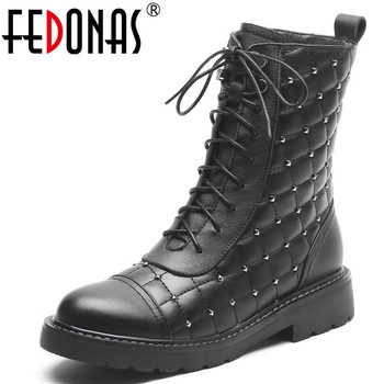 FEDONAS 2020 Punk Rivets Genuine Leather Women Ankle Boots Zipper Cross Tied Short Boots Night Club Shoes Woman Motorcycle Boots