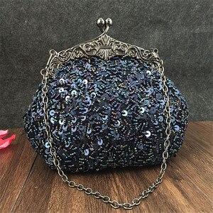 Image 1 - 2020 새로운 도착 클러치 지갑 실버 크리스탈 이브닝 백 여성 웨딩 Diamantes 파티 신부 핸드백 골드 스카이 블루 WY06