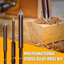 5Pcs Drill Bit W/ 4 Cutting Edge Point Spear Head Carbide Cutter Ceramics Granite Tiles Stone Wood Plastic Concrete Hole Drill