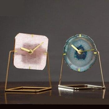 European Clock Agate Stone Living Room Clock Decoration TV Counter Study Pendulum Clock Retro Mute Table Clock A488