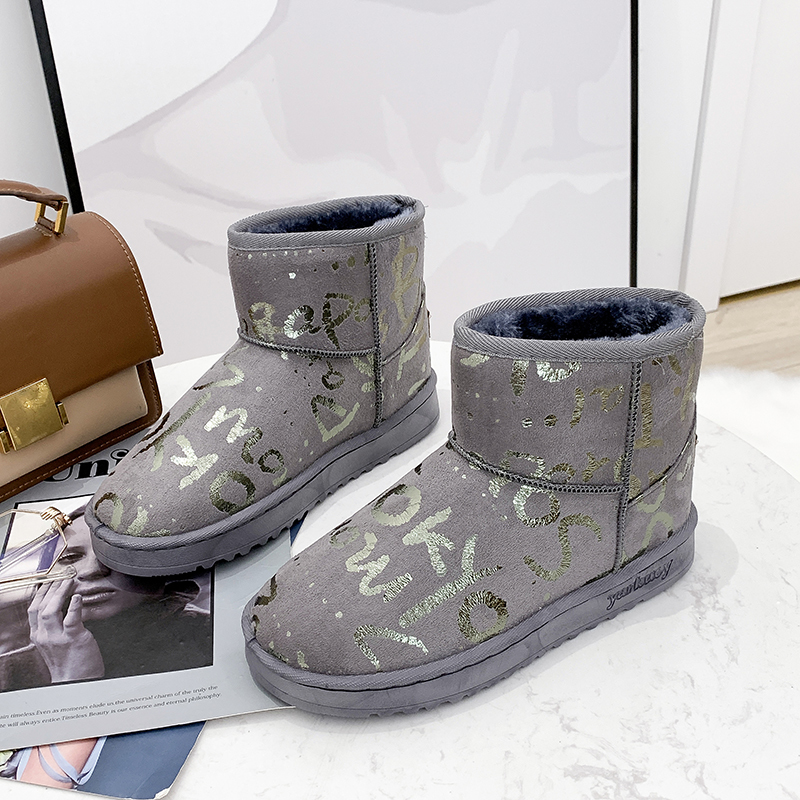 2019 New Women Graffiti Snow Boots Warm Short Fur Plush Glitter Winter Ankle Boots Platform Ladies Suede Shoes Female Comfort