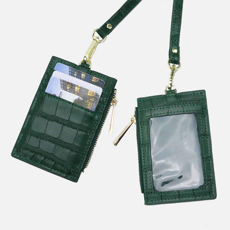 Dostosowane inicjały skóra bydlęca mężczyźni Zip posiadacz karty krokodyl wzór skórzany zamek smycz etui na dowód monety kiesy kobiet