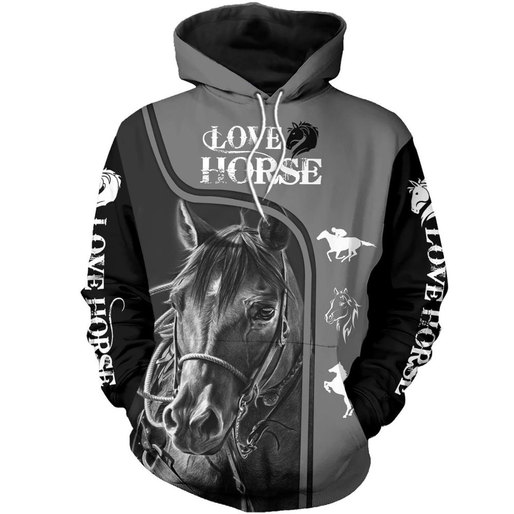 Love Horse Pattern Beautiful 3D Printed Men Hoodies/sweatshirts Harajuku Fashion Hooded Autumn Streetwear Sudadera Hombre