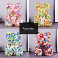 Artificial Flowers Rose Bear Multicolor Plastic Foam Rose Flower Teddy Bear Valentines Day Gift Birthday Party Spring Decoration