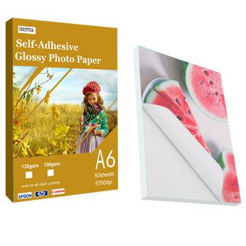 Samoprzylepny papier fotograficzny A6 samoprzylepna kolorowa drukarka atramentowa papier fotograficzny samoprzylepny papier fotograficzny 135 g 150 g papier fotograficzny tanie i dobre opinie CN (pochodzenie) A6 144*105mm