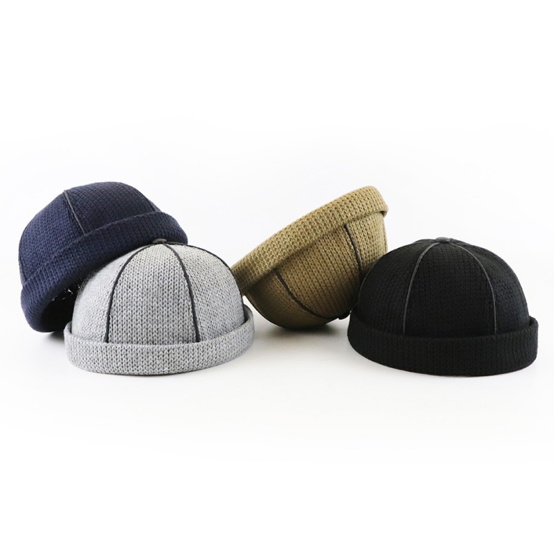 Cap Skullcap-Hat Beanies-Hats Bonnet Knitted Retro Autumn Winter Fashion Brimless Rolled-Cuff