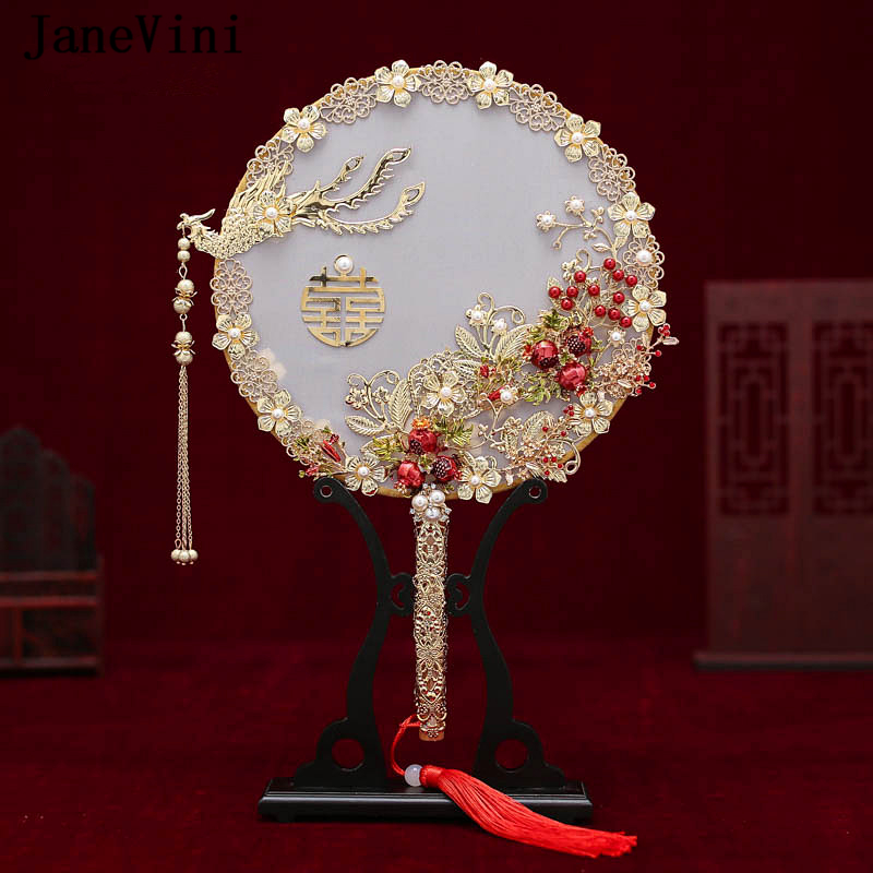 JaneVini Luxury 2019 Bridal Bouquets Fan Chinese Handmade Fan Holding Flowers Ancient Metal Fan Light Gold Wedding Accessories