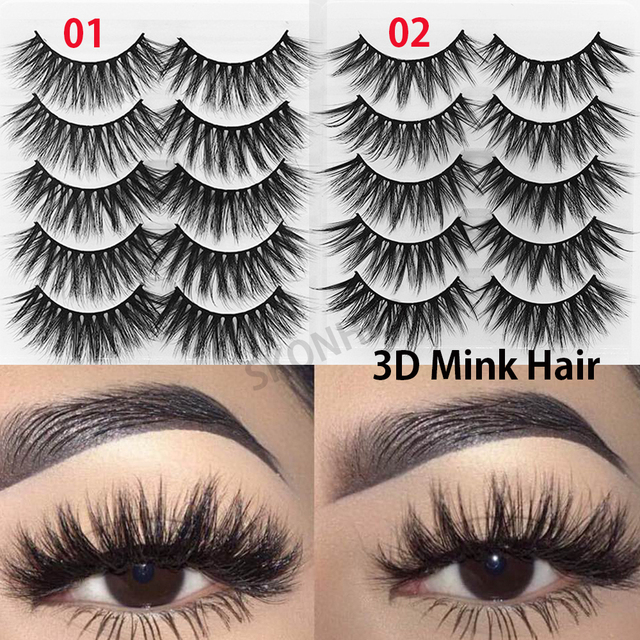 5Pairs New 3D Faux Mink Hair Soft False Eyelashes Fluffy Wispy Thick Lashes Handmade Soft Eye Makeup Extension Tools Wimpers 1