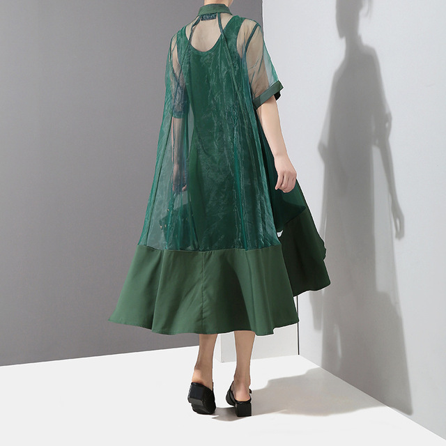 [EAM] Women Green Organza Irregular Shirt Dress New Stand Collar Half Sleeve Loose Fit Fashion Tide Spring Summer 2021 JT581 3
