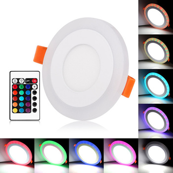 LED Panel Light Round Square 6W 9W 16W 24W Lamp Double Color RGB Cold White/RGB Warm White with Remote Control