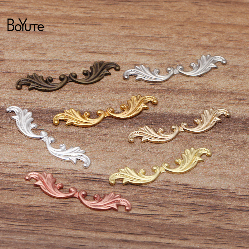 BoYuTe (200 Pieces/Lot) 30MM Metal Brass Stamping Leaf Materials Diy Hand Made Jewelry Making Accessories