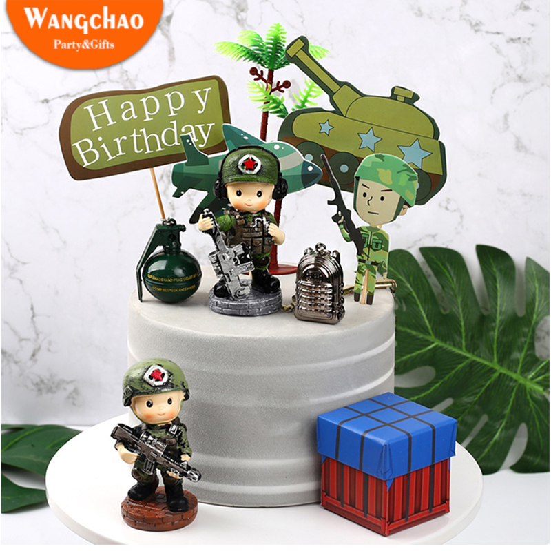 Tank Airplane military theme birthday Cake Topper Boy Party Favors Children's Birthday army party Cake Supplies Party Decoration