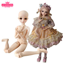 UCanaan 60CM Nude Body 1/3 BJD Doll 18 Ball Joints Doll Body Can Be Changed Eyes Without Outfits Girls Toys Accessories