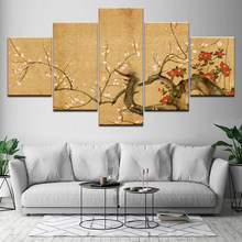Japanese Cherry Blossoms 5 Piece Hd Wallpapers Art Canvas Print Modern Poster Modular Art Painting for Living Room Home Decor(China)