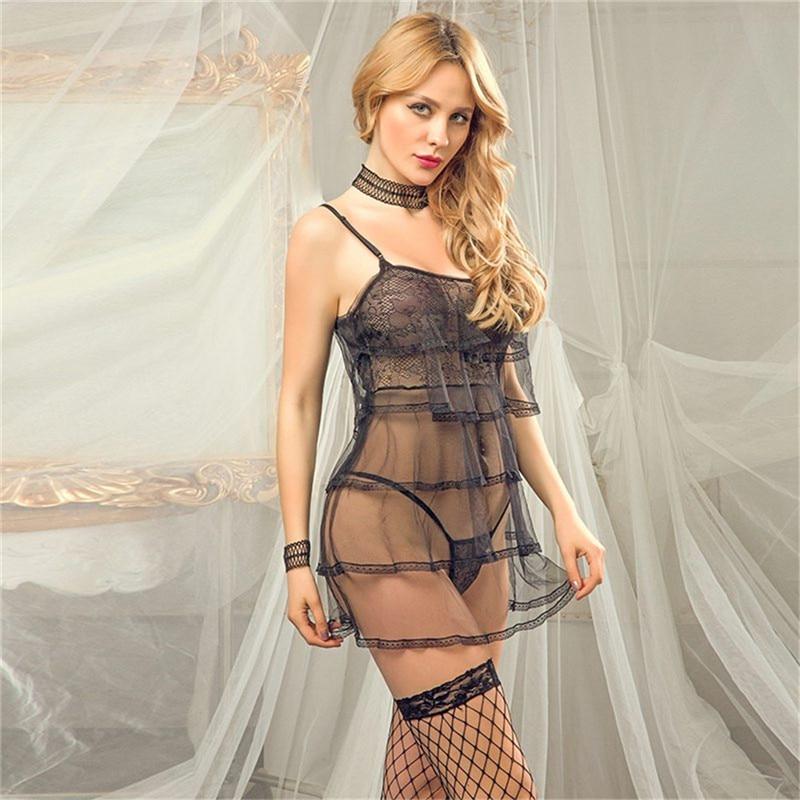 Black Lace Dress Hight Quality Girls Lace Dress Mesh Sexy Lingerie Set Women Underwear Porno Babydoll Erotic Transparent Dress