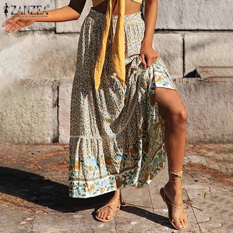 2021 Summer Bohemian Skirts Women ZANZEA Stitching Print Maxi Skirt Casual Elastic Waist Skirt Lady Lace Up Bottom Plus Size 5XL