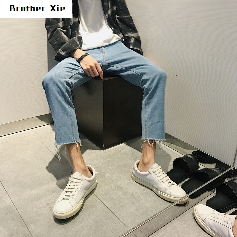 Autumn Jeans Men's Fashion Washed Solid Color Casual Jeans Pants Man Streetwear Wild Loose Hip Hop Straight Denim Trousers Male