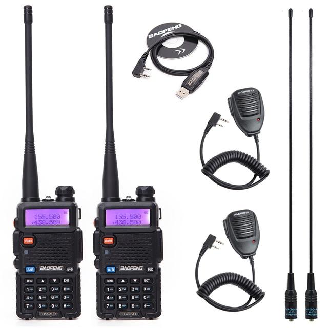 1/2 adet BaoFeng UV 5R çift bant VHF/UHF136 174Mhz & 400 520Mhz Walkie Talkie iki yönlü radyo Baofeng el UV5R Ham taşınabilir radyo