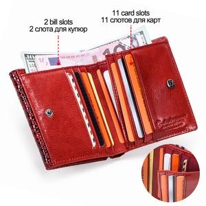 Image 4 - Kontakts 100% prawdziwej skóry kobiet portfele damskie etui na karty kieszonka na monety panie torebka portfel małe worki na pieniądze Carteira RFID