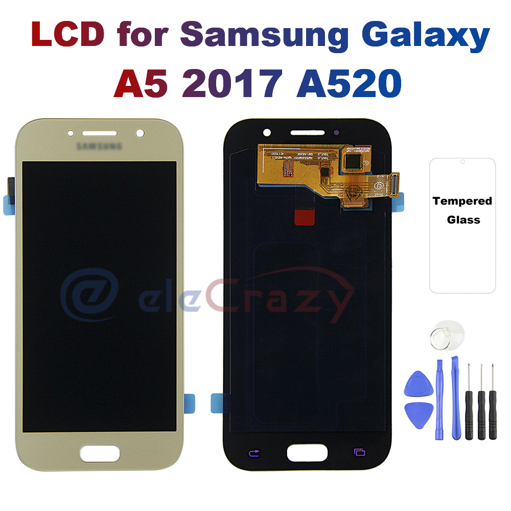 <font><b>AMOLED</b></font> for <font><b>SAMSUNG</b></font> Galaxy A5 2017 A520 <font><b>A520F</b></font> SM-<font><b>A520F</b></font> LCD Display Touch Screen Digitizer Assembly Replacement 100% Testing image